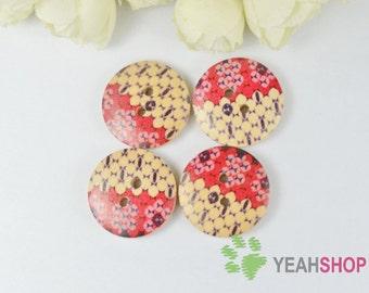 Red Floral Wooden Buttons - 23mm - 10 PCS (WBT23-12)