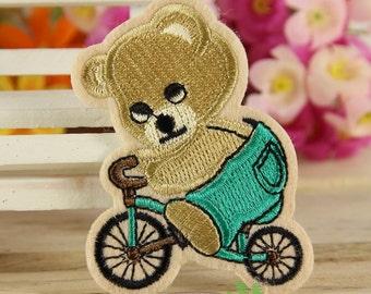 Iron on Fabric Patch - Biking Bear - FP50