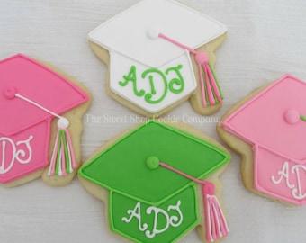 grad cap cookies 3 dozen