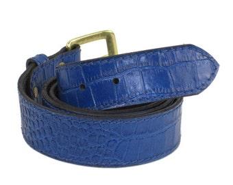 Buffalo and Crocodile Stamped Leather Belt