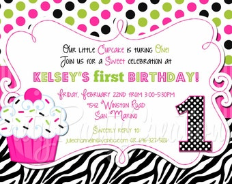 ZEBRA CUPCAKE invitation - lime/pink - You print - with or without photo 3 to choose