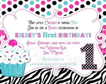 PINK TEAL ZEBRA cupcake invitation - You Print - 4 to choose - with or without photo