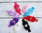 shabby headband, baby headband, rhinestone headband, girls headband, baby headband, shabby rosette headband, hair clip, baby, kids, children