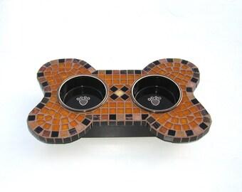 Small Dog Feeder, couture dog diner, elevated dog bowls, raised dog station, mosaic pet decor