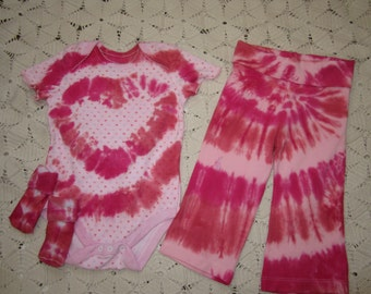 Tie dye 12 month bodysuit, socks, yoga pants- Precious in Pink and just in time for Valentines Day- hearts, 300