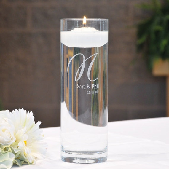 """Personalized """"Cylinder Memorial Floating Candle"""""""