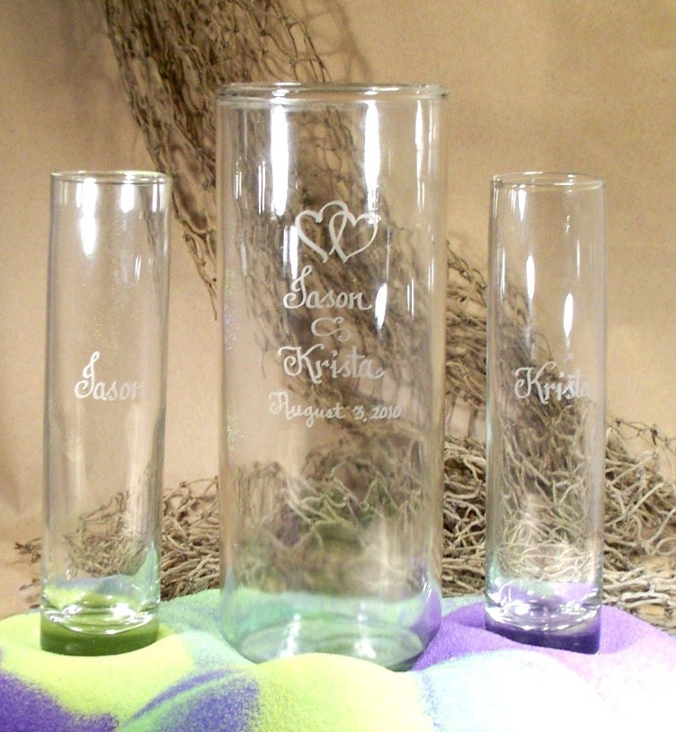 Personalized Unity Sand Ceremony Set Cylinder