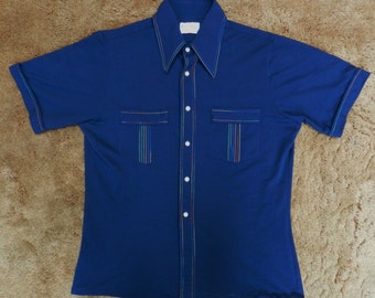 vintage 60s 70s Polyester button up Shirt casual Royal Knight Medium rainbow stitching USA