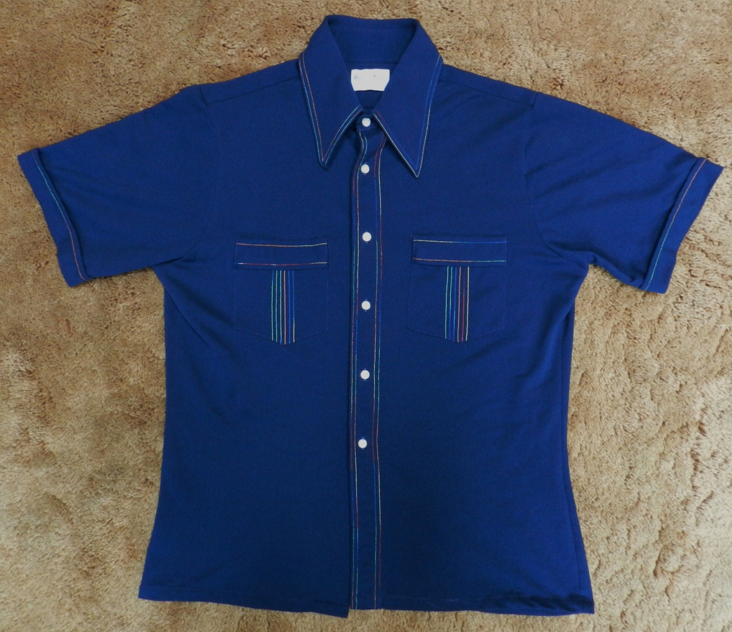 Vintage 60s 70s polyester button up shirt casual royal knight for Polyester button up shirt