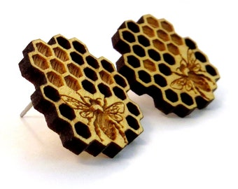 Honeycomb Yellowheart Post Earrings - Wooden Studs - Bee Wood Stud Earrings