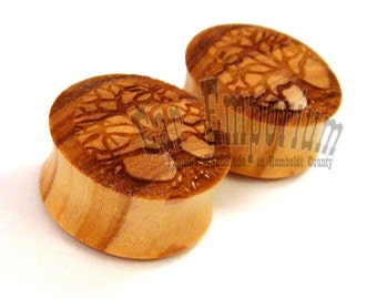 """Tree of Life Olivewood Wooden Plugs PAIR - 0g (8mm) 00g (9mm) (10mm) 7/16"""" (11mm) 1/2"""" (13mm) 9/16"""" 14mm 5/8"""" 16mm 3/4"""" 19mm Wood Ear Gauges"""