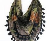 Green / Orange Triangle Cotton Scarf With Pompoms,  Fashion, Headband, Bandana