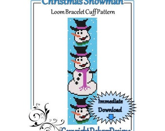 Bead Pattern Loom(Bracelet Cuff)-Christmas Snowman