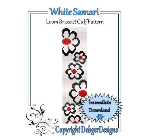 Bead Pattern Loom(Bracelet Cuff)-White Samari