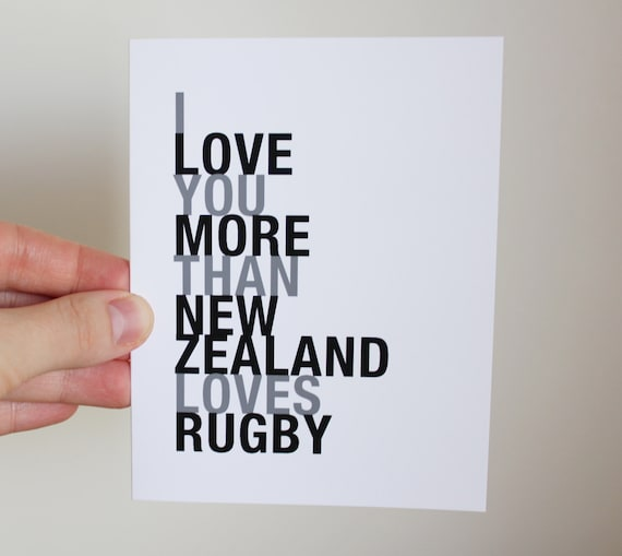 Rugby Card I Love You More Than New Zealand By HopSkipJumpPaper