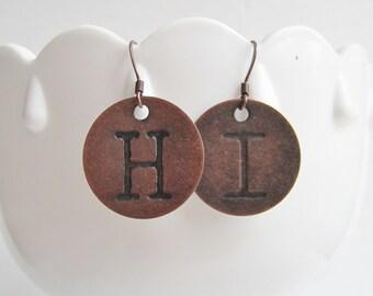 Hi copper stamped metal disc earrings
