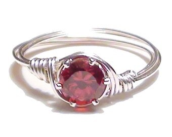 Garnet CZ Silver Wire Wrapped Ring, Red Stone Cubic Zirconia Silver Wire Ring, Custom Sized