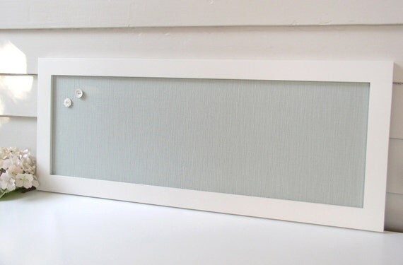 Long Narrow Magnet Board   Kitchen Bulletin Board Magnetic Organizer With  Silver Blue/Seafoam Cotton Fabric And 12 X 30 Inch Handmade Frame