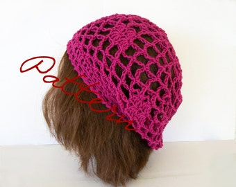 Crochet Pattern: Fishnet Lace Slouch Hat Diamonds and Flower Instant Download