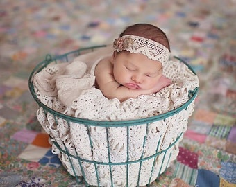 Newborn Vintage Inspired Headwrap. Tie back, Head Scarf, Headband, Photography Prop