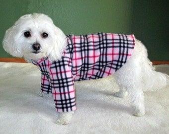Pink Plaid Dog Sweater, 2 Leg and 4 Leg Style