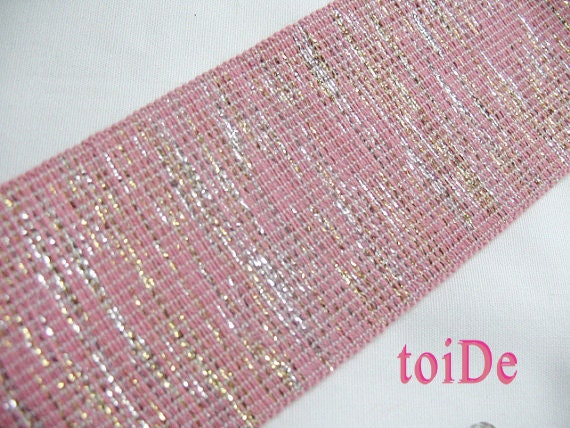 Wide Elastic Ribbon - Pink, Glitter - Fancy, Stretch