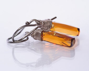 Crystal Rustic Earrings, Copper Earrings, Swarovski Column Earrings, Wire Wrapped Earrings, Autumn Earrings, SSeptember Trends Jewelry