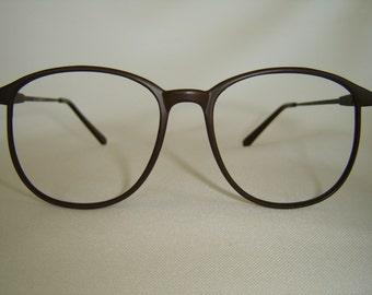 Vintage '80'S Preppy Eyeglasses, Round Shape, Dark Brown Matt Color, New Old Stock