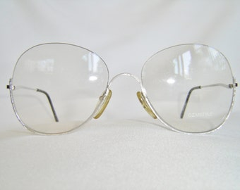 Vintage '80'S Metal Eyeglasses, Upside-Down Semi-Rimless, Brushed Silver, West Germany - New Old Stock