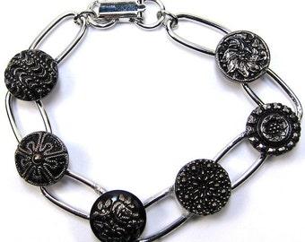 Silver Czech Glass Button Bracelet