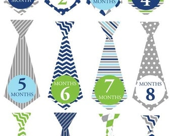 Baby monthly bodysuit iron on or removeable sticker decals for baby shower chevron gray plaid green aqua navy