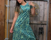 1960s 70s  Dress - Amoeba / Cells Midi Fitted Day Cotton psychedelic Vintage // M / L / XL