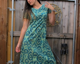 SALE 1960s 70s  Dress - Amoeba / Cells Midi Fitted Day Cotton psychedelic Vintage // M / L / Xl