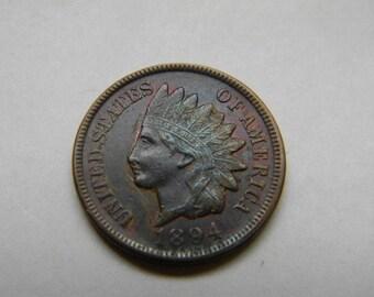 Coin, 1894 INDIAN HEAD PENNY Nice Coin