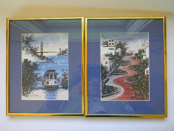2 San Francisco Framed And Matted Paintings Signed Frank Dong