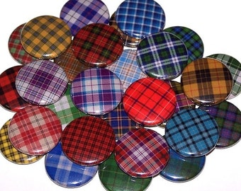 "Tartan Plaid Set of 10 Buttons 1"" Pinback Buttons or 1"" Magnets Scottish Scotland"