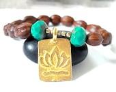 Lotus Flower Yoga Bracelet, Brass Lotus Flower, Olivewood, Czech Glass Beaded Charm Bracelet