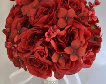 "17 Piece Package Wedding Bridal Bouquet Silk Flower Bouquets Bride Groom Bridesmaids Decoration Bride APPLE RED ""Lily of Angeles"" RERE06"