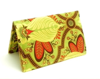 Business Card Holder - Floral in green, red chocolate brown and yellow