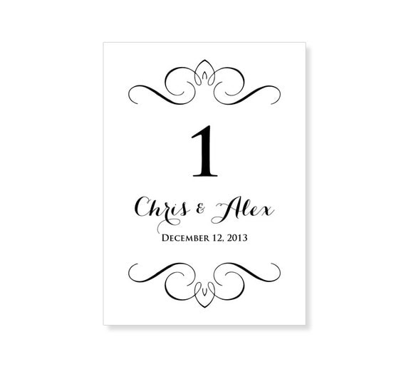 Dynamic image within free printable wedding table number templates