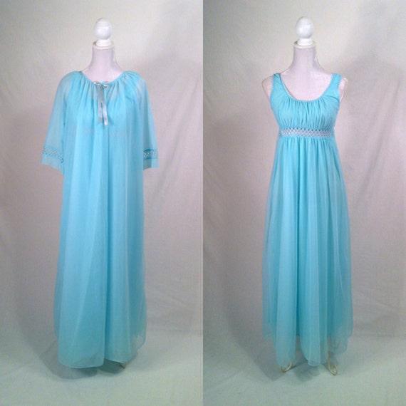 Vintage 1960s Light Blue Nylon Peignoir Set - SLUMBER SUZY - Nightgown & Robe