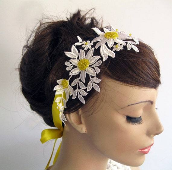 Daisy Bridal Headband / Wedding Dress Belt with Yellow Satin Quailman Belt Headband