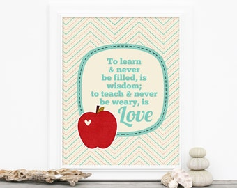 Teacher Digital Art Print - Apple Typography Teachers Gift - Typographic Poster Teachers Love