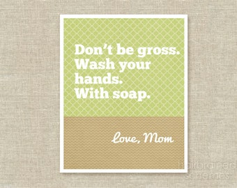 Funny Typography Poster Hang Up Your Towels - Sarcastic Bathroom Decor- Snarky Art - Beige Green Letter from Mom
