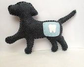 Puppy dog tooth fairy pillow in grey and baby blue for a boy