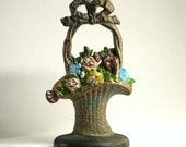 Vintage Hubley Doorstop French Basket Flowers