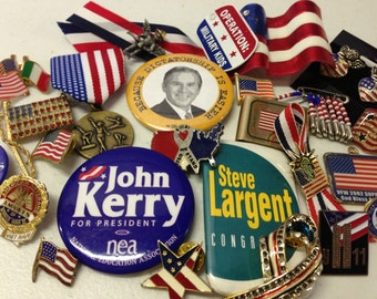 SALE Political USA Flags Patriotic Military Election Pins tie-tacks Vintage De-stash lot 87