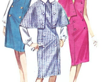 1960s Vintage Womens Sewing Pattern Butterick 3068 Mad Men Double Breasted Jumper or Dress with Cape and Blouse Size 10 Bust 31""