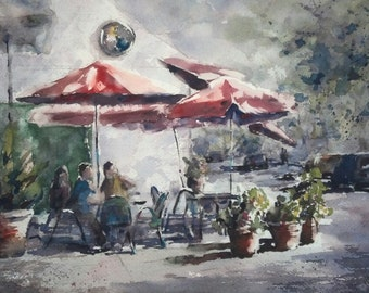 "Street Scene, Pasadena, cafe, cityscape, red umbrella, california art. A Little Spot on Green St.. Original watercolor (9"" x 12"")"