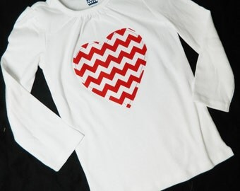 Girl, baby, toddler shirt with red chevron heart applique in sizes girls NB - 16- fun for Valentines holiday